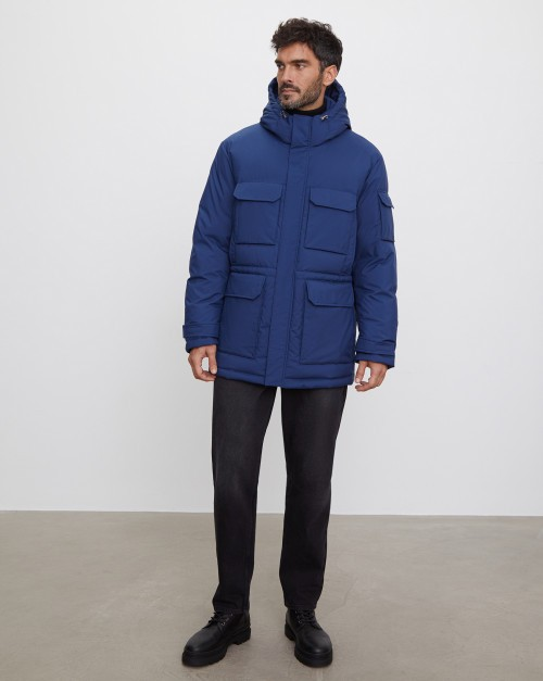 Куртка с карманами на пуху с капюшоном