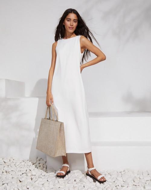 Платье миди без рукавов с рельефами и разрезом