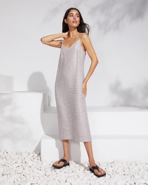 Платье-комбинация миди изо льна