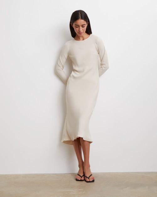 Платье миди с молниями на рукавах и комбинацией
