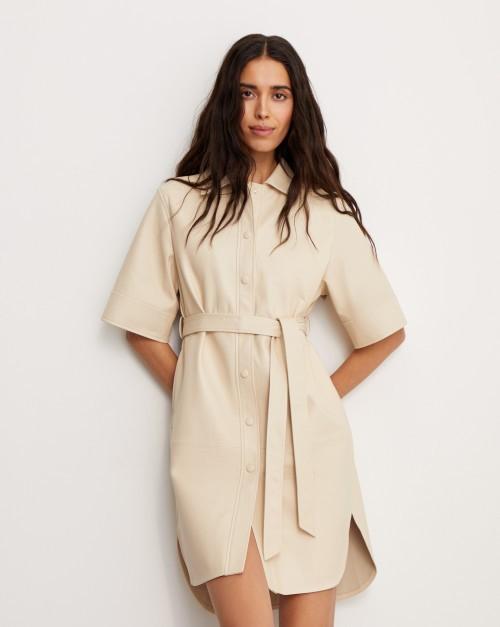 Платье кожаное с поясом