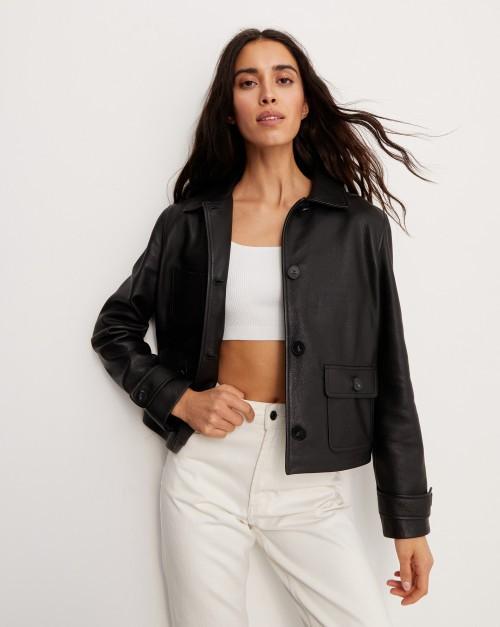 Жакет кожаный с карманами