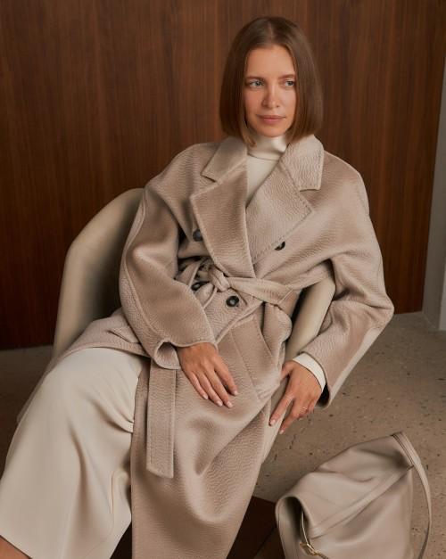 Пальто двубортное из кашемира с поясом
