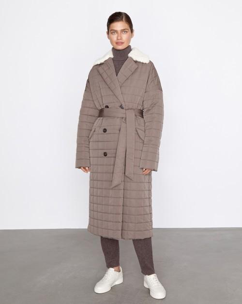 Пальто прямое со стежкой