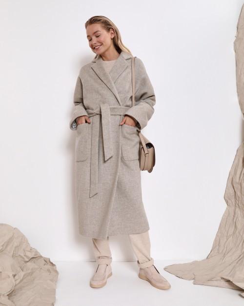 Пальто-халат с поясом, на подкладке