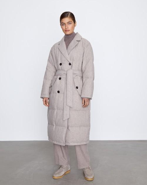 Пальто-пуховик из смесовой шерсти