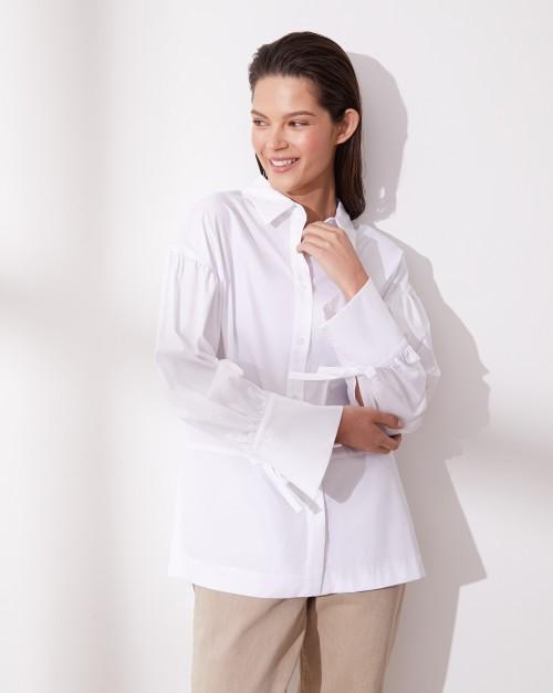 Рубашка с завязками на манжетах