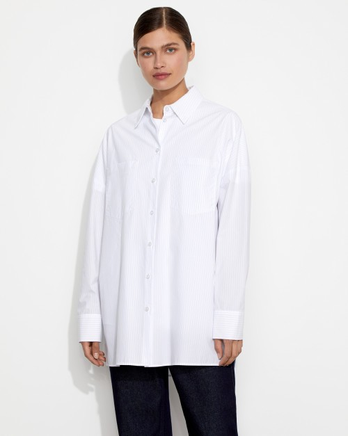 Рубашка из поплина удлиненная