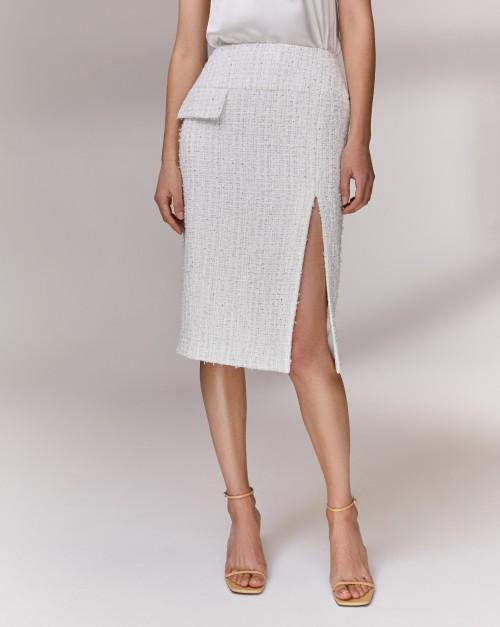 Твидовая юбка с разрезом