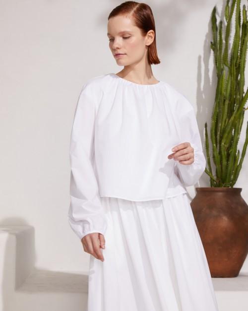 Блуза с объемными рукавами из хлопка