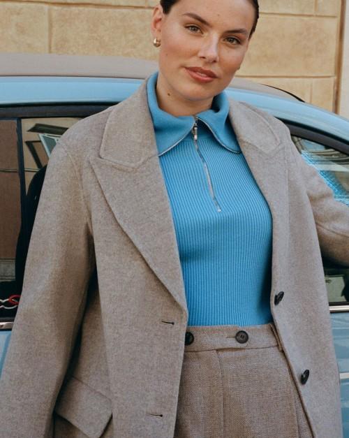 Пальто укороченное с отложным воротником